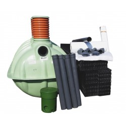 Oczyszczalnia ekologiczna, szambo ekologiczn 3 komorowe 2250 l dla 4-5 osób, 6 pakietów w-box