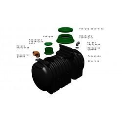 Dwukomorowa Oczyszczalnia ekologiczna 3000 L dla 6 osób z 8 pakietami w-box